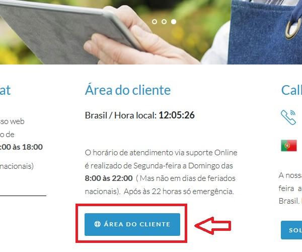 Botão de acesso a área do cliente