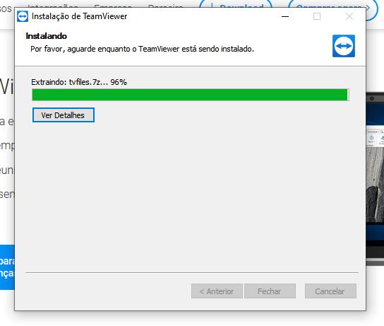 Uma instalação do TeamViewer sendo feita