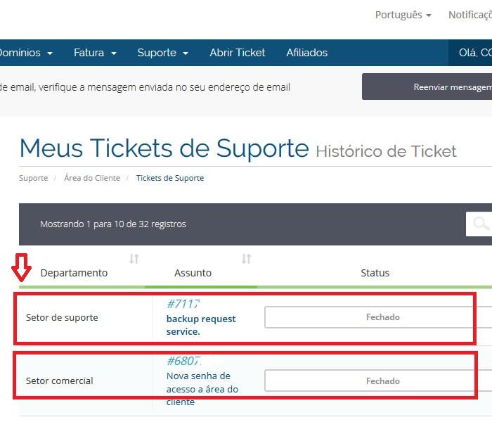 Ver ticket ou mensagem
